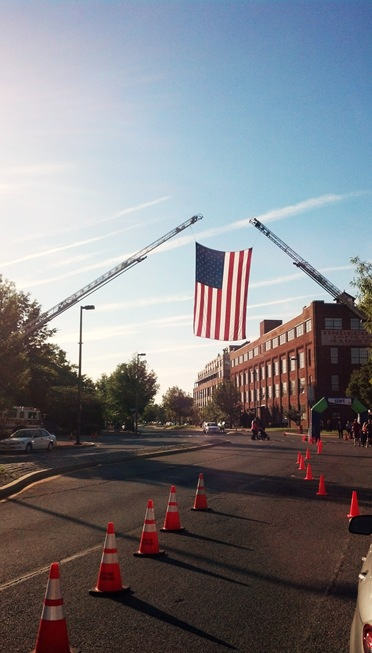 American Flag over Boston Street in Canton Maryland
