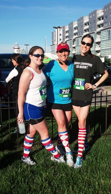 Denise Allison and K with patriotic socks