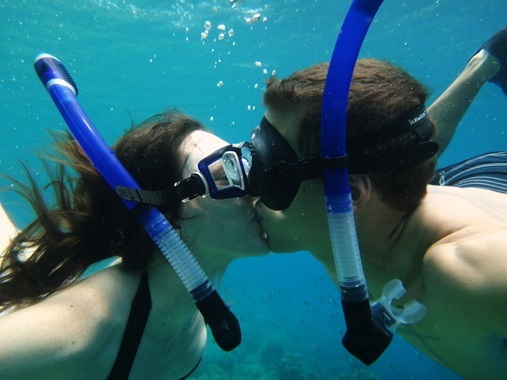K and Z underwater kiss st lucia