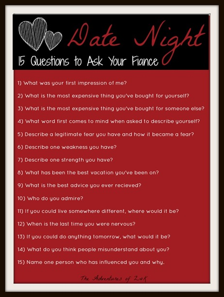 Date Nigh- 15 Questions to Ask Your Fiance