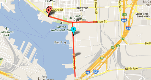 Special Operations 5K course map Canton Maryland