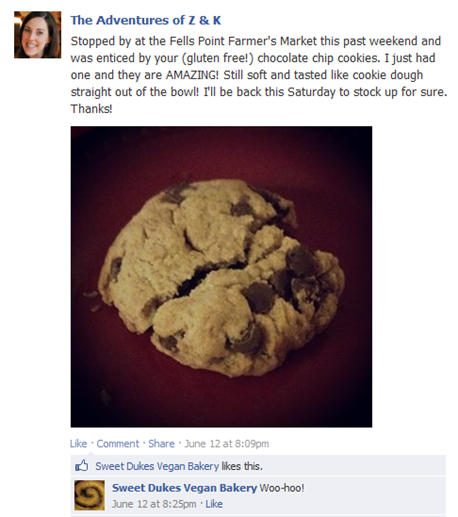 Sweet Dukes Vegan Bakery Gluten Free Chocolate Chip Cookies Baltimore Facebook post