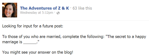 The Adventures of Z and K Facebook post