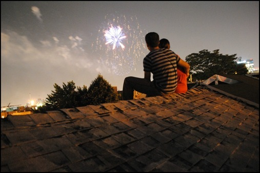 K and Z on rooftop in Fells Point watching fireworks