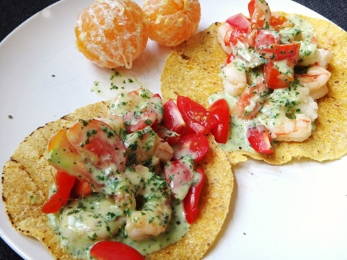Shrimp Tacos with cilantro lime dressing on corn tortilla