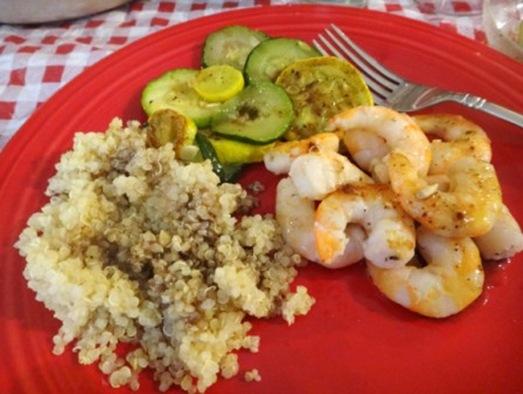 K bday dinner quinoa zucchini shrimp