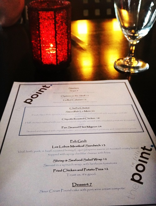 Menu from The Point in Fells