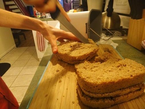 Homemade spelt bread slicing