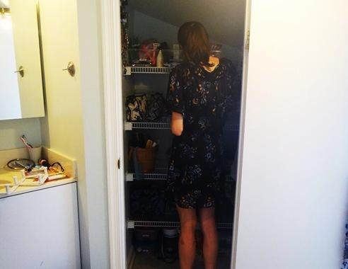 K in bathroom closet
