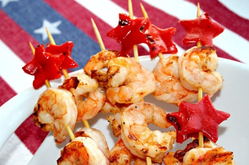 4th of July Shrimp and Red Pepper Skewers