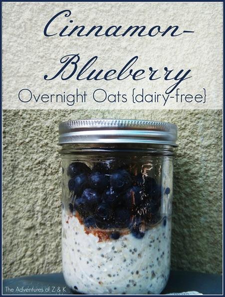 Dairy Free Cinnamon Blueberry Overnight Oats