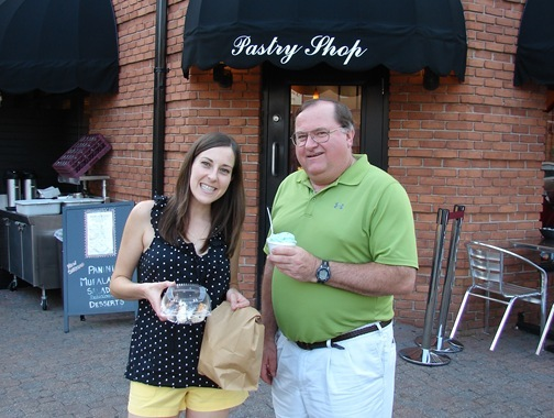 K and Dad at Vaccarros Pastry Shop Little Italy, MD