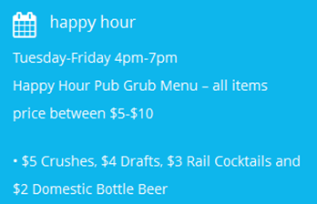 The Point in Fells Happy Hour specials