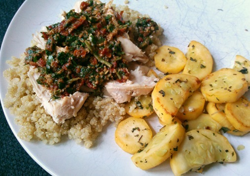 Mahi Mahi w/ Pesto over quinoa with squash on side