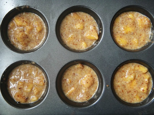 Peach Cobler Muffins- Batter makes 7 muffins