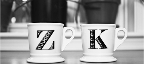 Z and K initial mugs from anthropologie