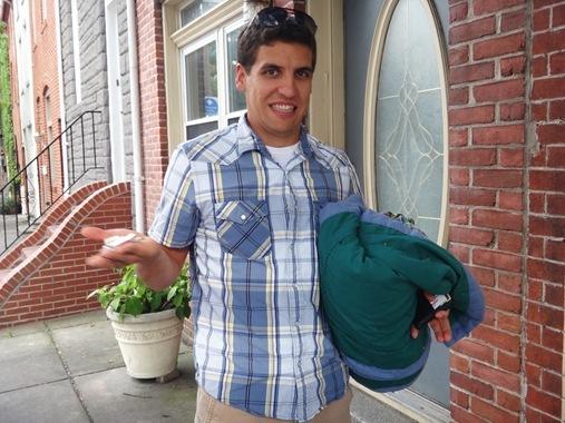 Z carrying picnic blanket