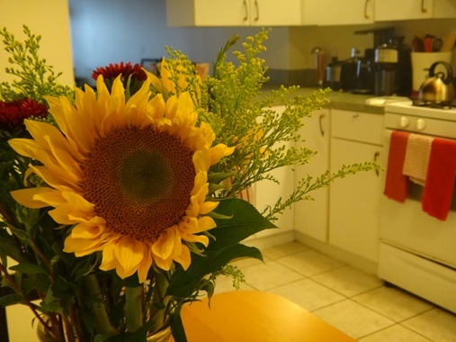 Trader Joe's flowers in the kitchen