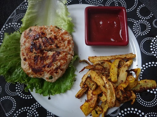 Homemade asian turkey burger with zucchini fries