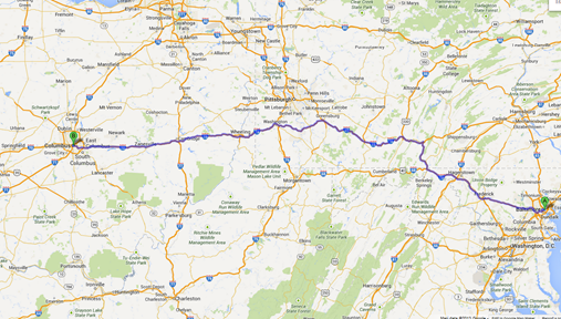 Baltimore to Columbus OH roadtrip