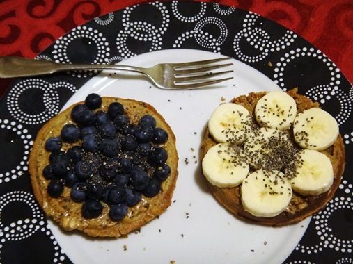 Waffles w/ nut butter and fruit