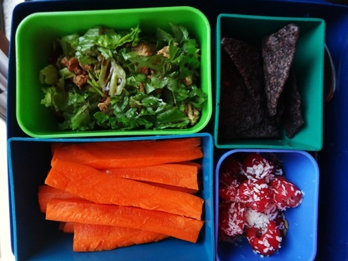 bento lunch box with taco turkey corn chips carrots raspberries