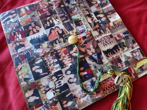 K's graduation cap with photo collage