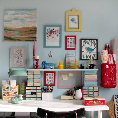 Colorful desk via Kristina Klarin