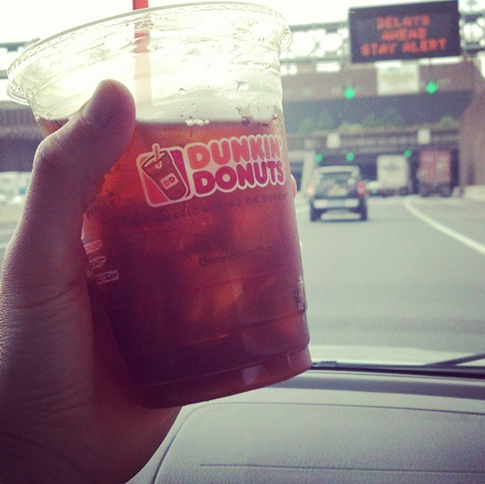 Dunkin Donuts Hazelnut Iced Coffee while stuck in traffic