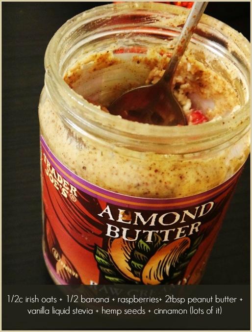Oats in an empty almond butter jar