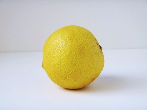 Lemon in at home photo studio