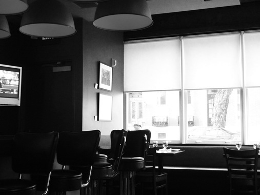 Restaurant bar tables and chairs in black and white