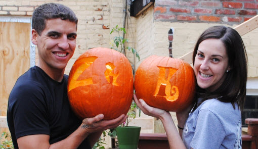 Pumpkins with initials carved