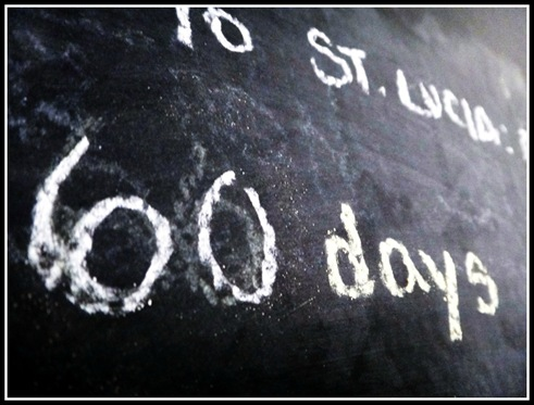st lucia destination wedding countdown on black board