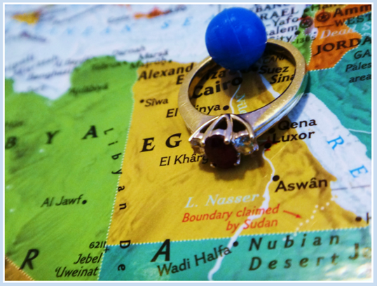 October Photo a Day Challenge close up of engagement ring on map near Egypt