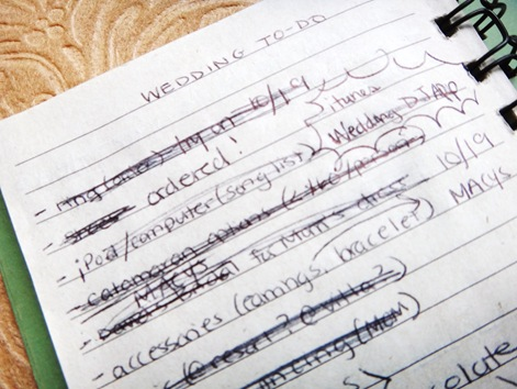 My wedding to do list journal