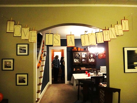 Love is a journey banner bridal shower theme