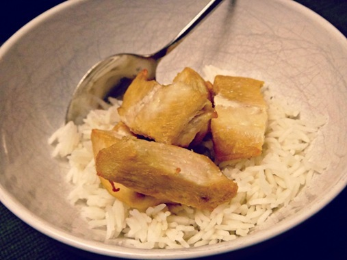 Boiled chicken and white rice