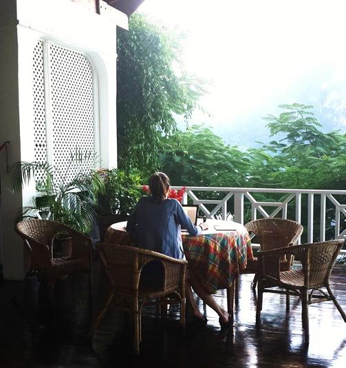 Le Gallerie Villa Soufriere St. Lucia- K on porch