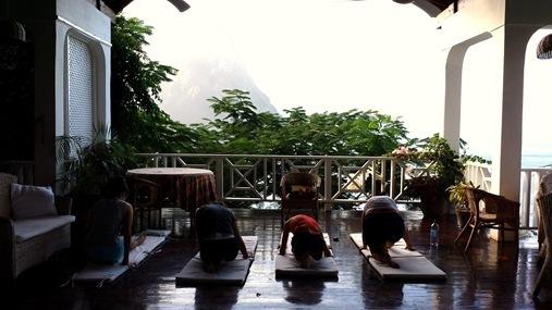 Le Gallerie Villa Soufriere St. Lucia- Yoga on porch