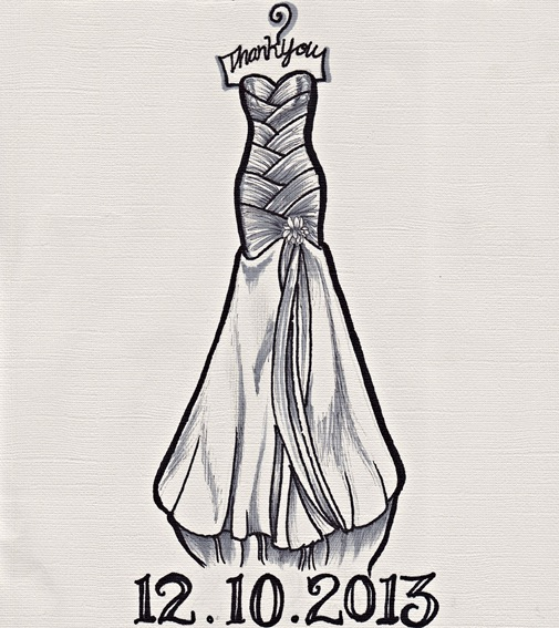 Mother of the Bride Gift- customized wedding dress sketch