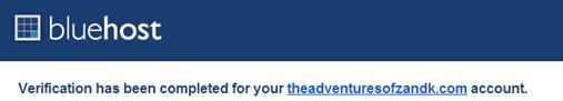 Bluehost site verification confirmation