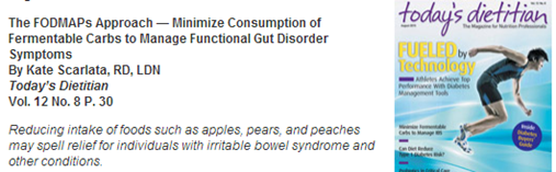 today's dietician magazine article on FODMAPs