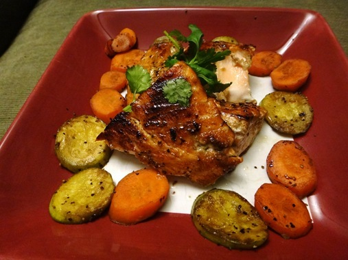 Maple dijon salmon with sauteed carrots and zucchini
