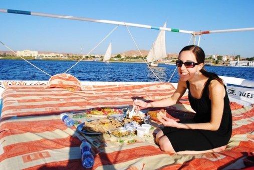 K eating Egyptian meal on Nile Cruise