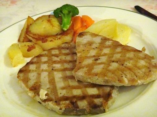 The Fox Grove Inn Micoud St. Lucia- Grilled tuna steaks with steamed potato carrots breadfruit
