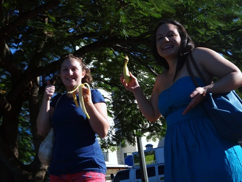 Denise and Jenna with bananas in Soufriere St. Lucia