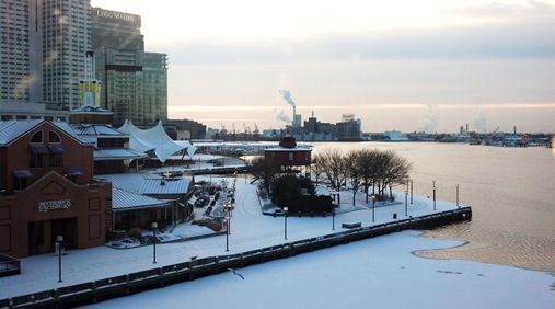 Snowy view of the Inner Harbor, Baltimore, MD