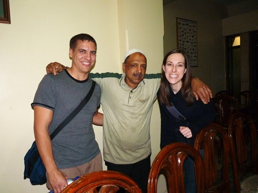 Z and K with restaurant owner in Luxor Egypt