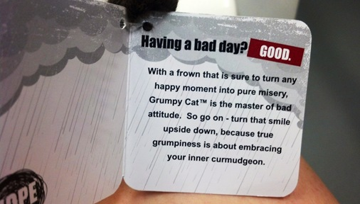Grumpy Cat stuffed animal tag